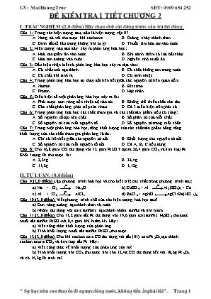 Đề kiểm tra 1 tiết chương 2 - Hóa học 8 - GV: Mai Hoàng Trúc