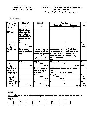 Đề kiểm tra học kì II Môn Toán lớp 7 - Trường THCS Tân Viên
