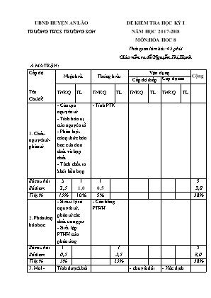 Đề kiểm tra học kỳ I môn Hóa hoc 8 - Trường THCS Trường Sơn