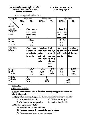 Đề kiểm tra học kỳ II môn Công nghệ 6 - Trường THCS Trường Sơn