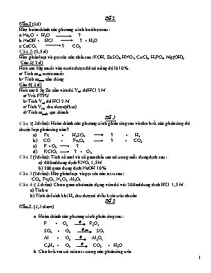 10 Đề thi học kỳ 2 môn Hóa 8