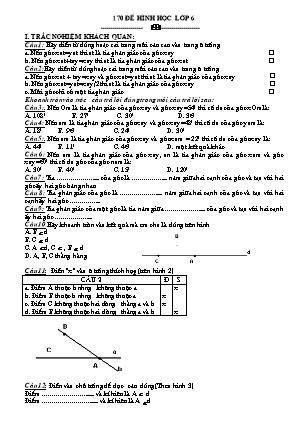 170 đề Hình học lớp 6
