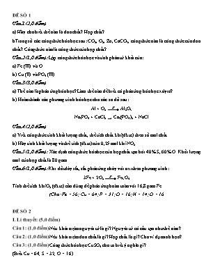 4 Đề kiểm tra học kỳ I môn Hóa học 8