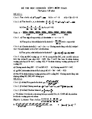 5 Đề thi học sinh giỏi lớp 7- Môn Toán