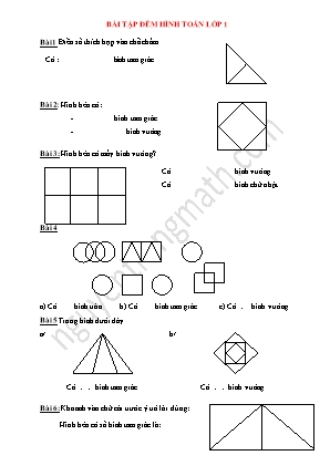 Bài tập đếm hình toán lớp 1