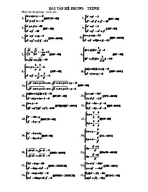 Bài tập Hệ phương trình, phương trình, bất phương trình vô tỉ
