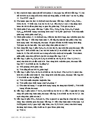 Bài tập Hidrocacbon - Giáo viên: Hồ Lâm Quang Thảo