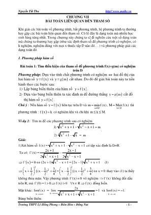 Bài toán liên quan đến tham số