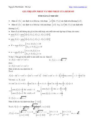 Bài toán tìm Giá trị lớn nhất và nhỏ nhất của hàm số