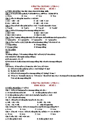 Bộ đề kiểm tra chương I (tiết 14) Hình học 6