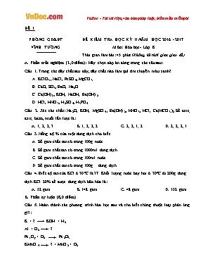 Bộ Đề kiểm tra học kỳ II môn Hóa học lớp 8