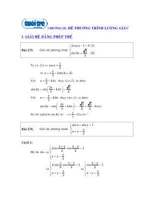 Chuyên đề Hệ phương trình lượng giác