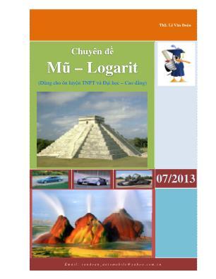 Chuyên đề Mũ – Logarit (Dùng cho ôn luyện TNPT và Đại học – Cao đẳng)