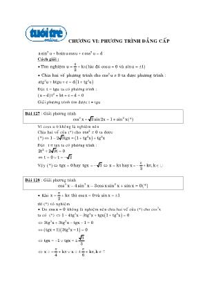 Chuyên đề Phương trình đẳng cấp