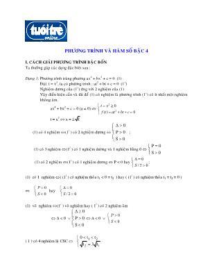 Chuyên đề Phương trình và hàm số bậc 4