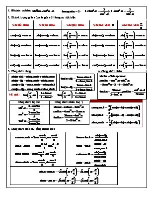 Công thức lượng giác lớp 10
