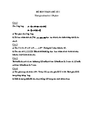 Đề học sinh giỏi Toán 6 - Đề số 5
