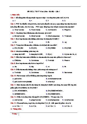 Đề khảo sát chất lượng môn Hóa - THPT Kim Liên - Hà Nội - Lần 1