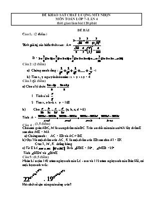 Đề khảo sát chất lượng mũi nhọn môn Toán lớp 7- Lần 4