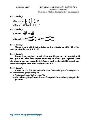 Đề khảo sát HSG môn Toán lớp 6 - Năm học 2001-2002