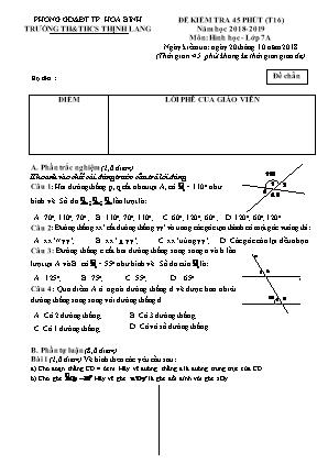 Đề kiểm tra 45 phút (tiết 16) môn Hình học - lớp 7