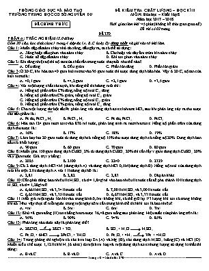 Đề kiểm tra chất lượng học kì II môn Hóa học – khối lớp 8