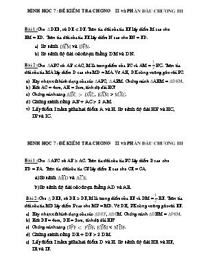 Đề kiểm tra chương II và phần đầu chương III - Hình học 7