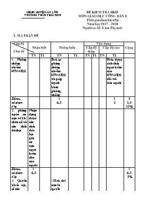 Đề kiểm tra học kỳ II môn Giáo dục công dân 8 - Trường THCS Thái Sơn