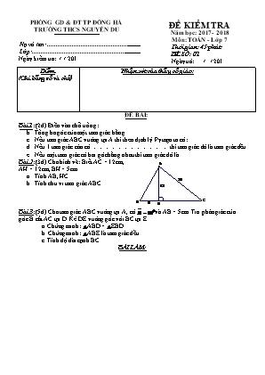 Đề kiểm tra môn Toán Hình (Đề 2) - Lớp 7 - Trường THCS Nguyễn Du