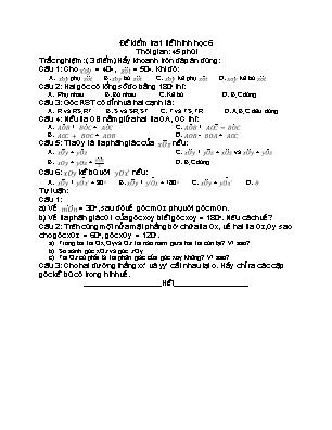 Đề kiểm tra1 tiết Hình học 6