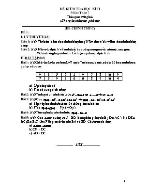 Đề thi học kì 2 môn Toán 7 (Đề 8)
