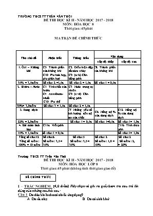 Đề thi học kì II môn Hóa học lớp 8 - Trường THCS TT Trần Văn Thời