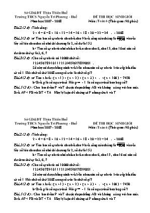 Đề thi học sinh giỏi Năm học 2007 - 2008 Môn Toán 6 - Trường THCS Nguyễn Tri Phương - Huế