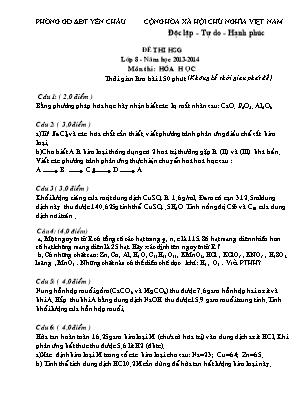 Đề thi HSG lớp 8 - Môn thi Hóa học
