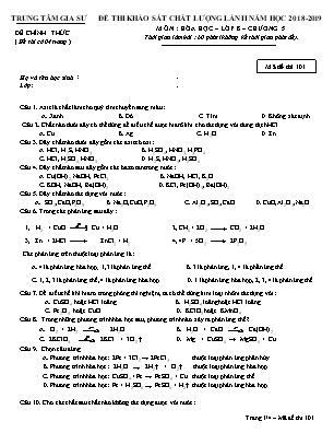 Đề thi khảo sát chất lượng lần II môn Hóa học – lớp 8 – chương 5