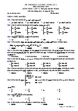 Đề thi khảo sát học sinh lần 2 môn Toán – lớp 11