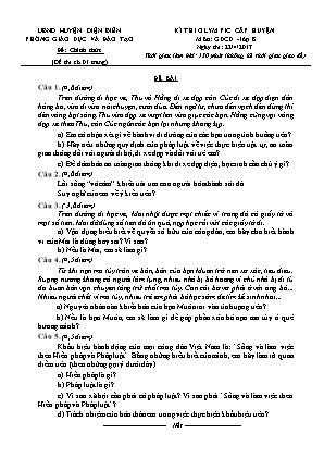 Đề thi olympic cấp huyện Điện Biên môn Giáo dục công dân – lớp 8 - Ngày thi 22/4/2017 (Đề chính thức)