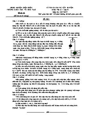 Đề thi olympic cấp huyện Điện Biên môn Vật lí – lớp 8 - Ngày thi 22/4/2017 (Đề dự bị)