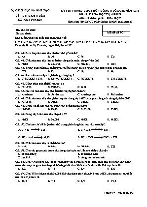 Đề thi tham khảo kỳ thi trung học phổ thông quốc gia môn Hóa học