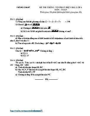 Đề thi thông tin phát hiện HSG lớp 6 môn Toán