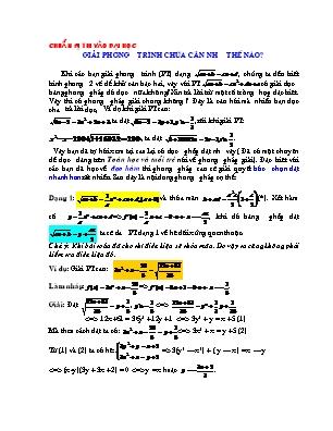 Giải phương trình chứa căn như thế nào?