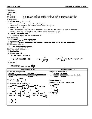 Giáo án Đại số và giải tích 11 cơ bản - Tiết 69 - Đạo hàm của hàm số lượng giác