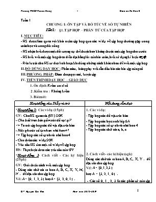Giáo án Số Học 6 - Tuần 1, 2, 3 - GV: Nguyễn Chí Bền - Trường THCS Thạnh Hưng