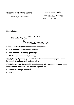 Kiểm tra 1 tiết môn Hóa học - Khối 10