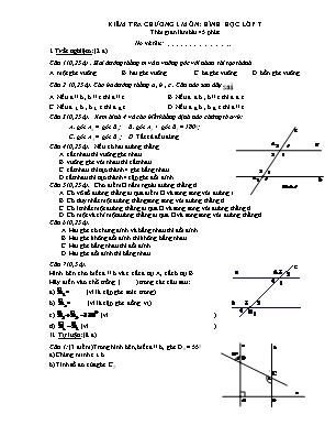 Kiểm tra 45 phút chương I môn Hình học lớp 7
