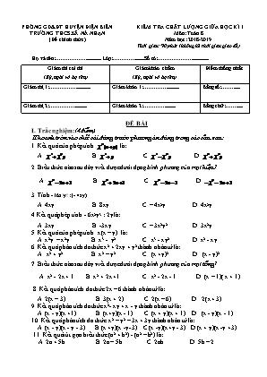 Kiểm tra chất lượng giữa học kì I môn Toán 8 - Trường THCS xã Nà Nhạn