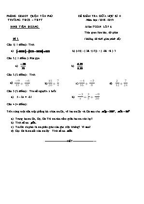 Kiểm tra giữa học kì II môn Toán lớp 6 - Trường THCS – THPT Đinh Tiên Hoàng