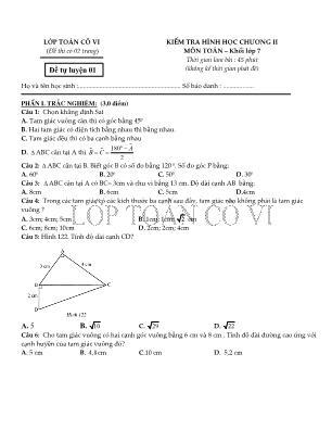 Kiểm tra hình học chương II môn Toán – khối lớp 7 - Đề 1