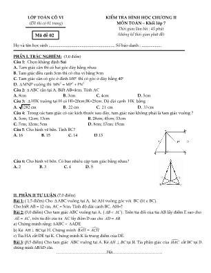 Kiểm tra hình học chương II môn Toán – khối lớp 7 - Đề 2