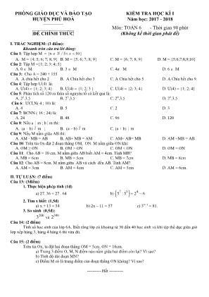 Kiểm tra học kì I môn Toán 6
